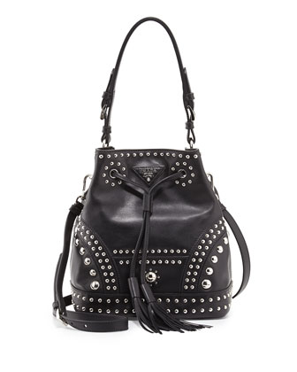 Studded Soft Calfskin Medium Bucket Bag, Black (Nero)