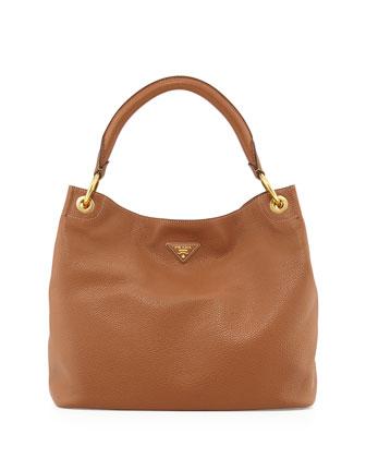 Vitello Daino Single-Strap Hobo Bag, Brown (Brandy)