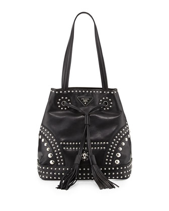Soft Calf Large Studded Bucket Bag, Black (Nero)