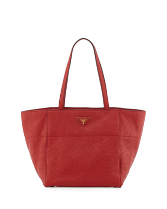 Vitello Daino Small Shopper Tote Bag, Red (Fuoco)