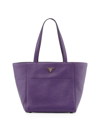 Vitello Daino Shopper Bag, Violet (Viola)
