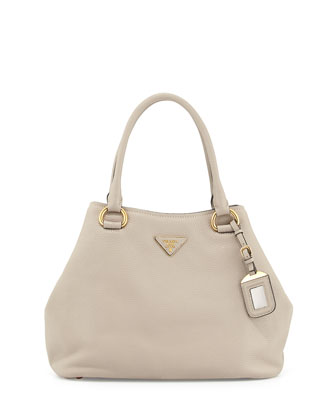 Vitello Daino Satchel Bag with Strap, Light Gray (Pomice)
