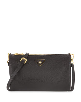 Vitello Daino Crossbody Bag, Black (Nero)