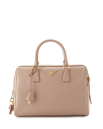 Saffiano Bowler Bag with Strap, Tan (Cammeo)