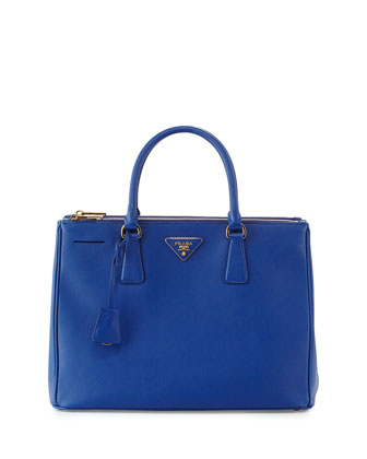 Saffiano Double-Zip Tote Bag, Blue (Royal)
