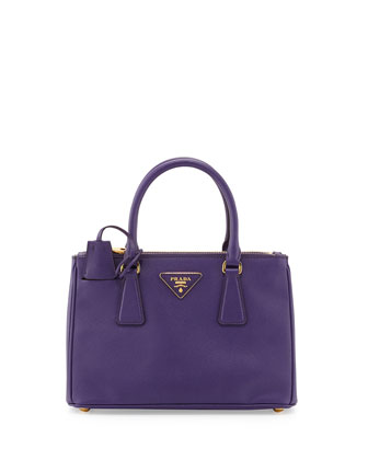 Saffiano Double-Zip Mini Crossbody, Violet (Viola)