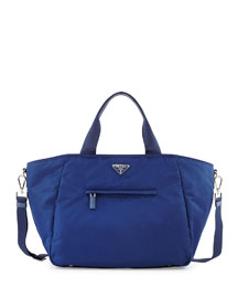 Nylon Tote Bag with Strap, Blue (Royal)