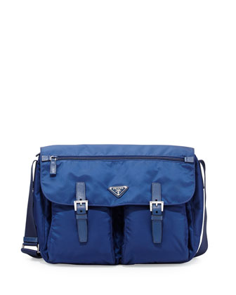 Vela Buckled Messenger Bag, Royal Blue (Inchiostro)