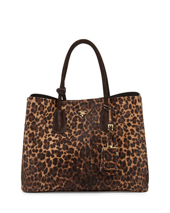 Cavallino Small Double-Pocket Tote Bag, Leopard Multi