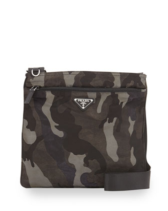 Tessuto Camo-Print Crossbody Bag, Gray Multi (Fumo)