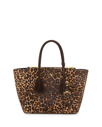 Cavallino Twin-Pocket Tote Bag, Leopard (Mille/Moro)