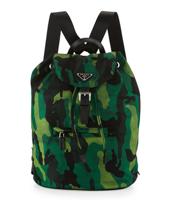 Tessuto Camo Nylon Backpack, Green Multi (Verde)