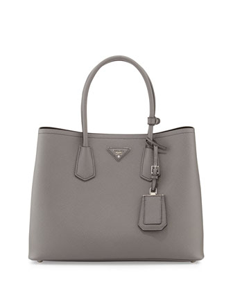Saffiano Cuir Double Bag, Gray (Marmo)