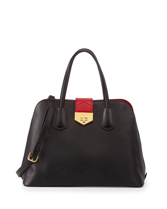 Saffiano Cuir Bicolor Dome Satchel Bag, Black/Red (Nero+Fuoco)
