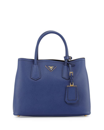 Saffiano Small Double-Compartment Tote Bag, Dark Blue (Inchiostro)