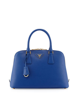 Saffiano Vernice Double-Zip Promenade Satchel, Dark Blue (Inchiostro)