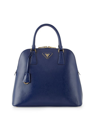 Saffiano Vernice Dome Tote with Strap, Dark Blue (Inchiostro)