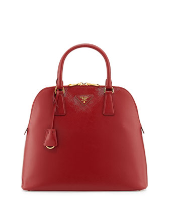 Saffiano North/South Dome Bag, Red (Scarletto)