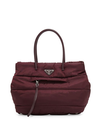 Tessuto Bomber Shopper Bag, Bordeaux (Granato)