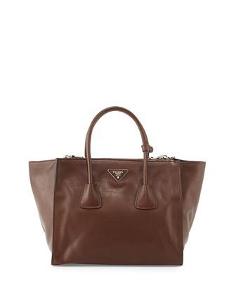 City Calf Large Twin-Pocket Tote Bag, Brown (Cacao)