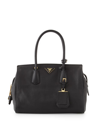Vitello Grain Zip-Top Satchel Bag, Black (Nero)