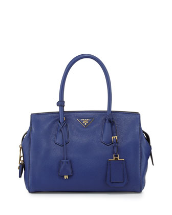 Vitello Grain Zip-Top Satchel Bag, Dark Blue (Inchiostro)