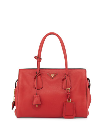 Vitello Grain Zip-Top Satchel Bag, Red (Fuoco)