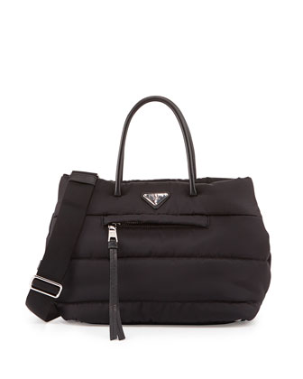 Tessuto Bomber Satchel Bag, Black (Nero)