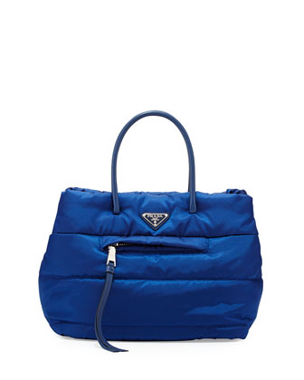 Tessuto Bomber Satchel Bag, Blue (Bluette)