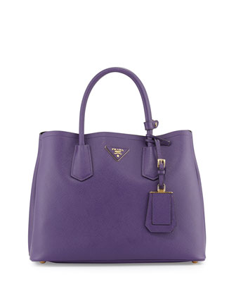 Saffiano Small Double-Compartment Tote Bag, Violet (Viola)