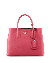 Saffiano Cuir Small Double Bag, Pink (Peonia)