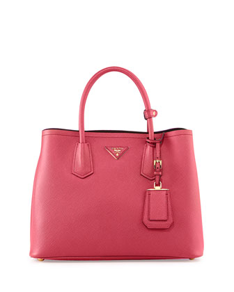Saffiano Cuir Double Bag, Pink (Peonia)