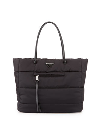 Tessuto Bomber Shoulder Tote Bag, Black (Nero)