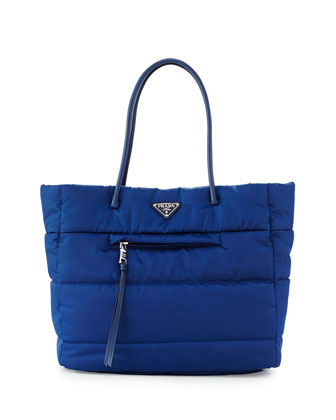 Tessuto Bomber Tote Bag, Blue (Bluette)