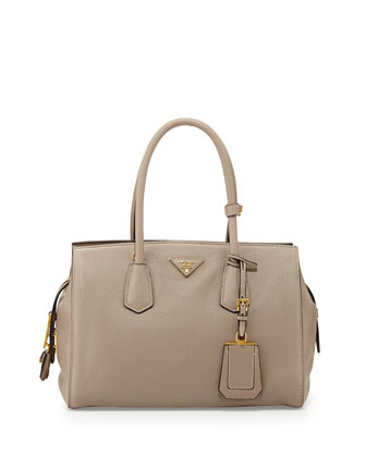 Vitello Zip Satchel with Strap, Light Gray (Pomice)