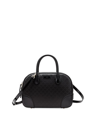 Bright Diamante Small Leather Bag, Black