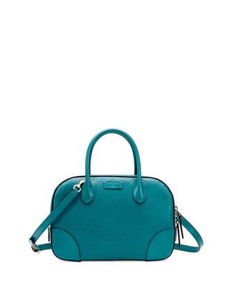 Bright Diamante Small Leather Bag, Turquoise