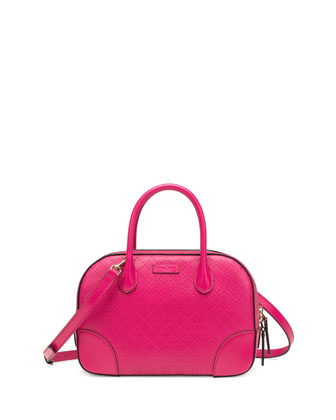 Bright Diamante Small Leather Bag, Fuchsia