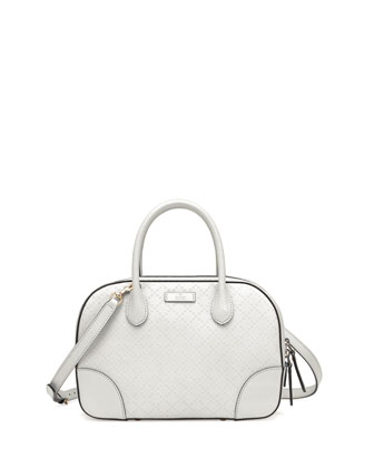 Bright Diamante Small Leather Bag, White