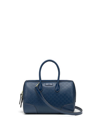 Bright Diamante Small Boston Bag, Navy