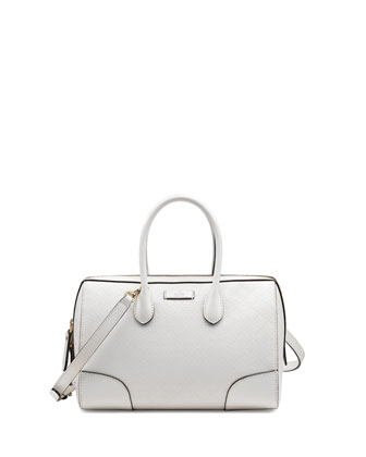 Bright Diamante Small Boston Bag, White