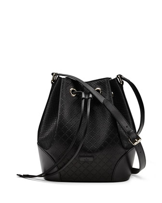 Bright Diamante Medium Leather Bucket Bag, Black