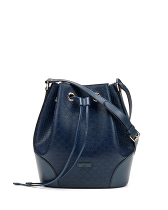 Bright Diamante Medium Leather Bucket Bag, Navy