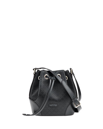 Bright Diamante Small Bucket Bag, Black
