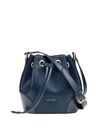Bright Diamante Small Bucket Bag, Navy