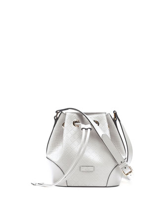 Bright Diamante Small Bucket Bag, White