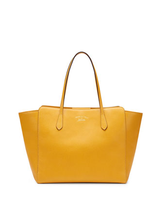 Gucci Swing Leather Tote Bag, Yellow