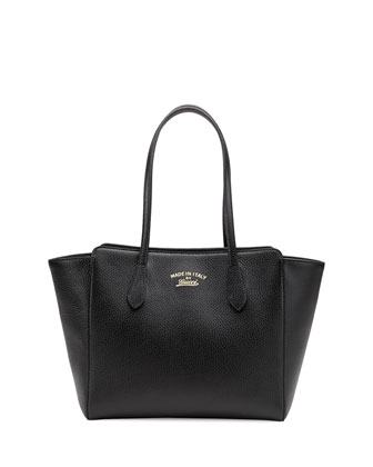 Swing Small Leather Tote Bag, Black