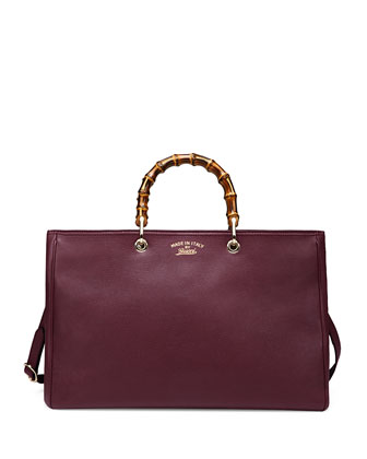 Bamboo Large Shopper Tote Bag, Classic Burgundy