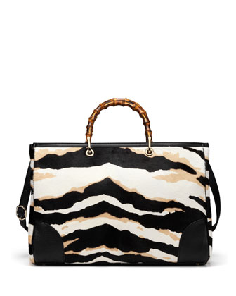 Tiger-Print Bamboo Large Shopper Tote Bag, Black/White